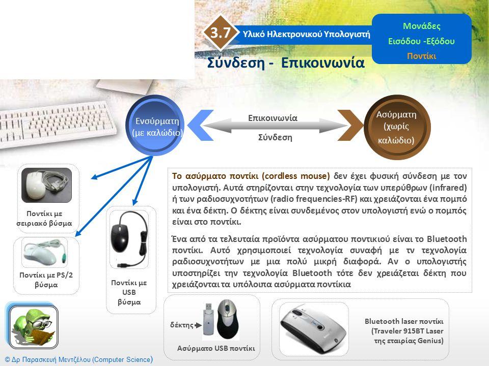 © Δρ Παρασκευή Μεντζέλου (Computer Science ) Υλικό Ηλεκτρονικού Υπολογιστή 3.7 Μονάδες Εισόδου -Εξόδου Ποντίκι Σύνδεση - Επικοινωνία Ασύρματη (χωρίς κ