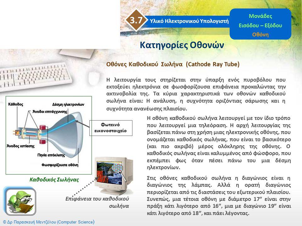 © Δρ Παρασκευή Μεντζέλου (Computer Science ) Κατηγορίες Οθονών Οθόνες Καθοδικού Σωλήνα (Cathode Ray Tube) Η λειτουργία τους στηρίζεται στην ύπαρξη ενό