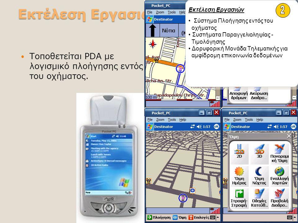 Εκτέλεση Εργασιών Τοποθετείται PDA με λογισμικό πλοήγησης εντός του οχήματος. Εκτέλεση Εργασιών Σύστημα Πλοήγησης εντός του οχήματος Συστήματα Παραγγε