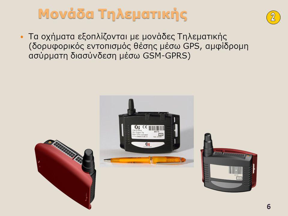 Μονάδα Τηλεματικής Τα οχήματα εξοπλίζονται με μονάδες Τηλεματικής (δορυφορικός εντοπισμός θέσης μέσω GPS, αμφίδρομη ασύρματη διασύνδεση μέσω GSM-GPRS)