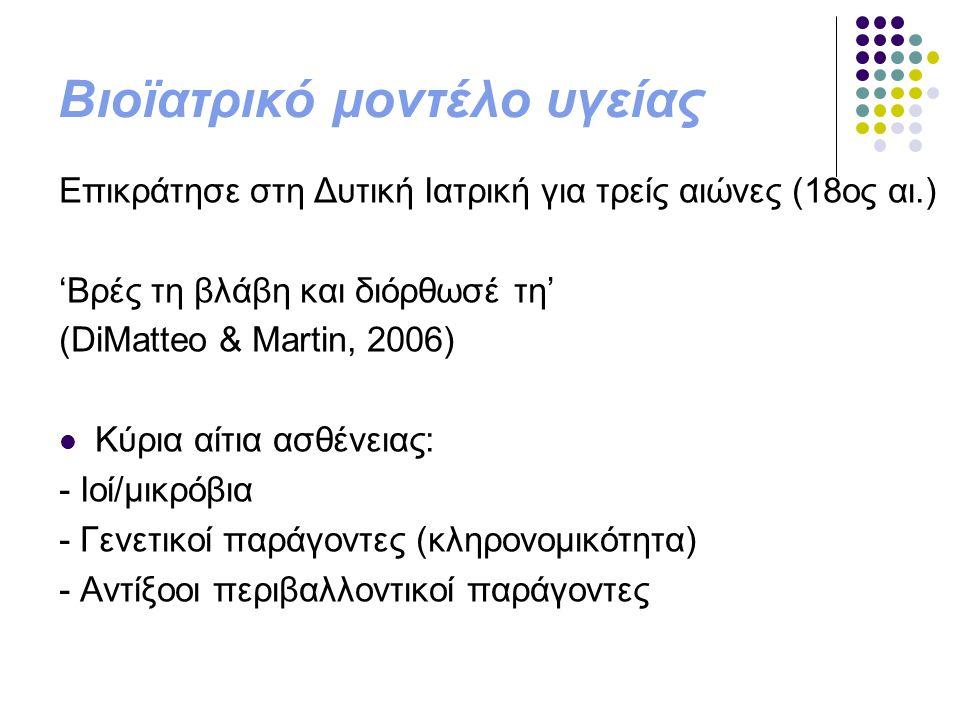 Βιοϊατρικό μοντέλο υγείας Επικράτησε στη Δυτική Ιατρική για τρείς αιώνες (18ος αι.) 'Βρές τη βλάβη και διόρθωσέ τη' (DiMatteo & Martin, 2006) Κύρια αί