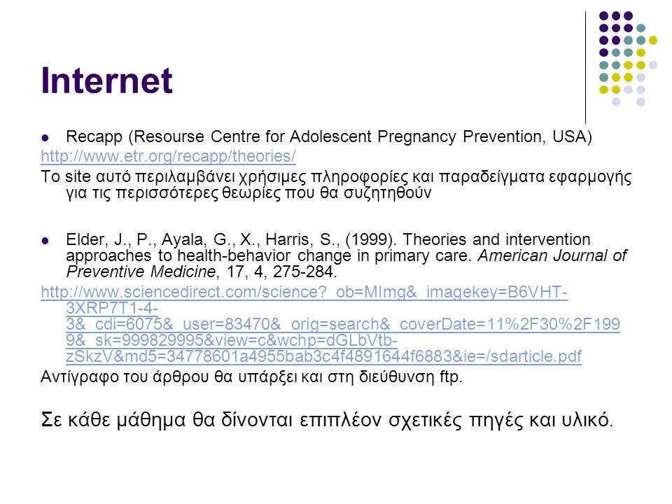 Internet Recapp (Resourse Centre for Adolescent Pregnancy Prevention, USA) http://www.etr.org/recapp/theories/ To site αυτό περιλαμβάνει χρήσιμες πληρ