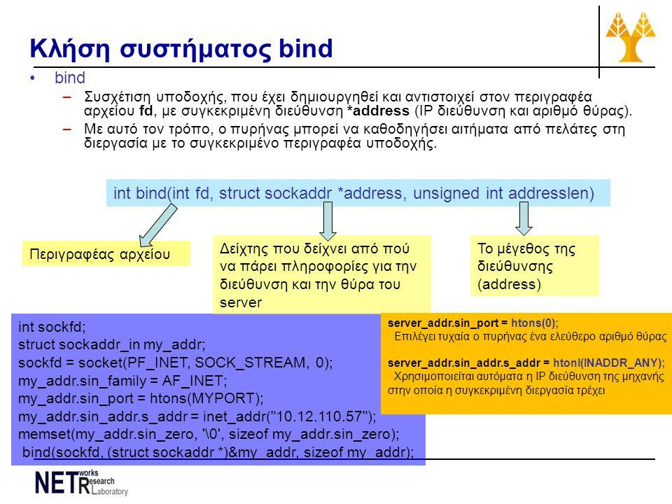 int sockfd; struct sockaddr_in my_addr; sockfd = socket(PF_INET, SOCK_STREAM, 0); my_addr.sin_family = AF_INET; my_addr.sin_port = htons(MYPORT); my_addr.sin_addr.s_addr = inet_addr( 10.12.110.57 ); memset(my_addr.sin_zero, \0 , sizeof my_addr.sin_zero); bind(sockfd, (struct sockaddr *)&my_addr, sizeof my_addr); Κλήση συστήματος bind bind –Συσχέτιση υποδοχής, που έχει δημιουργηθεί και αντιστοιχεί στον περιγραφέα αρχείου fd, με συγκεκριμένη διεύθυνση *address (IP διεύθυνση και αριθμό θύρας).