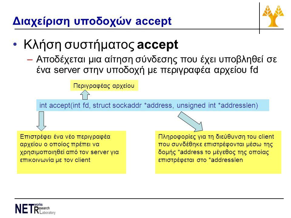 Διαχείριση υποδοχών accept Κλήση συστήματος accept –Αποδέχεται μια αίτηση σύνδεσης που έχει υποβληθεί σε ένα server στην υποδοχή με περιγραφέα αρχείου fd int accept(int fd, struct sockaddr *address, unsigned int *addresslen) Επιστρέφει ένα νέο περιγραφέα αρχείου ο οποίος πρέπει να χρησιμοποιηθεί από τον server για επικοινωνία με τον client Πληροφορίες για τη διεύθυνση του client που συνδέθηκε επιστρέφονται μέσω της δομής *address το μέγεθος της οποίας επιστρέφεται στο *addresslen Περιγραφέας αρχείου