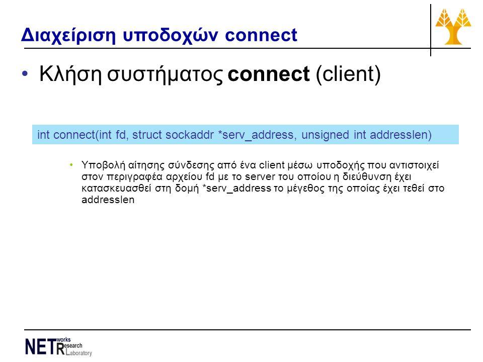 Διαχείριση υποδοχών connect Κλήση συστήματος connect (client) Υποβολή αίτησης σύνδεσης από ένα client μέσω υποδοχής που αντιστοιχεί στον περιγραφέα αρχείου fd με το server του οποίου η διεύθυνση έχει κατασκευασθεί στη δομή *serv_address το μέγεθος της οποίας έχει τεθεί στο addresslen int connect(int fd, struct sockaddr *serv_address, unsigned int addresslen)