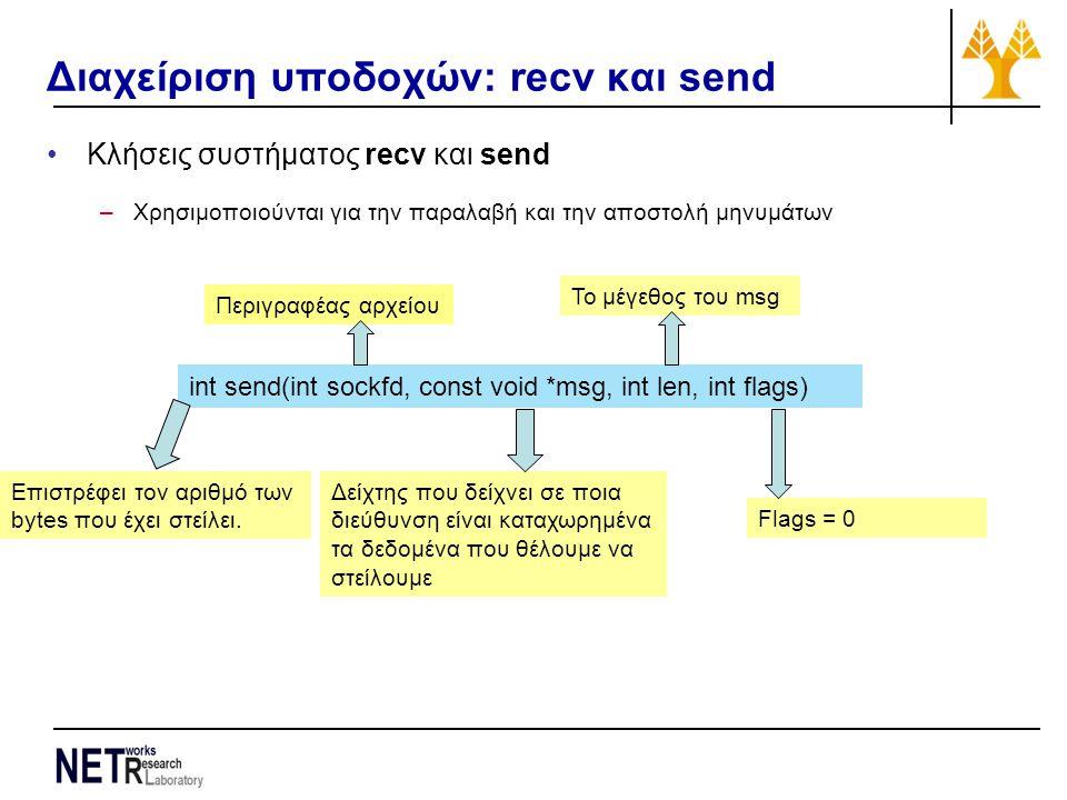 Διαχείριση υποδοχών: recv και send Κλήσεις συστήματος recv και send –Χρησιμοποιούνται για την παραλαβή και την αποστολή μηνυμάτων int send(int sockfd, const void *msg, int len, int flags) Περιγραφέας αρχείου Δείχτης που δείχνει σε ποια διεύθυνση είναι καταχωρημένα τα δεδομένα που θέλουμε να στείλουμε Το μέγεθος του msg Flags = 0 Επιστρέφει τον αριθμό των bytes που έχει στείλει.