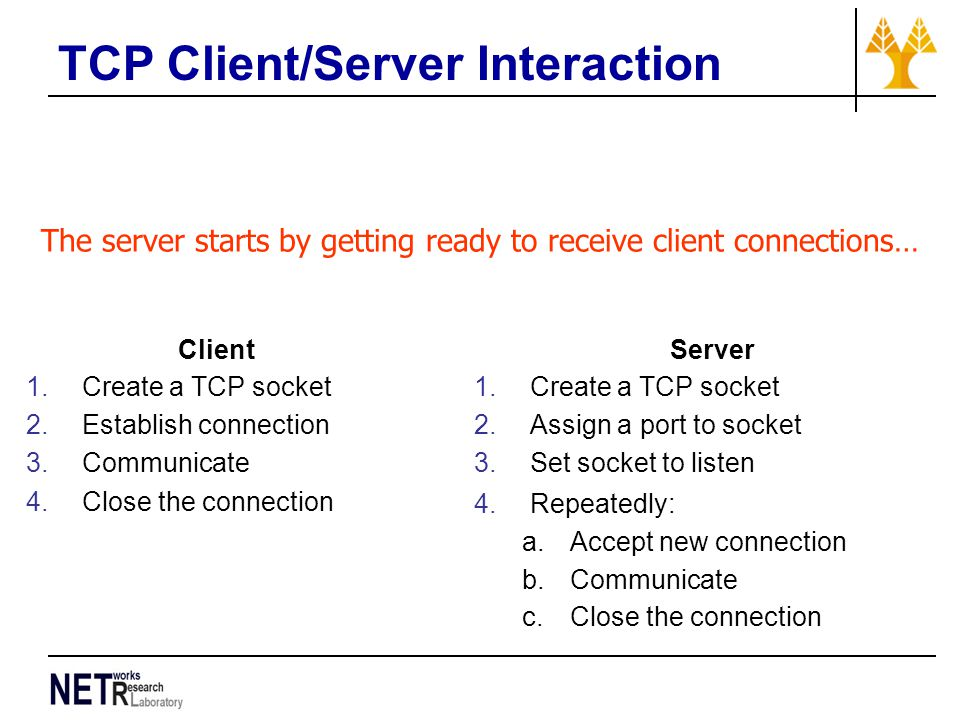 TCP Client/Server Interaction Client 1.Create a TCP socket 2.Establish connection 3.Communicate 4.Close the connection Server 1.Create a TCP socket 2.Assign a port to socket 3.Set socket to listen 4.Repeatedly: a.Accept new connection b.Communicate c.Close the connection The server starts by getting ready to receive client connections…