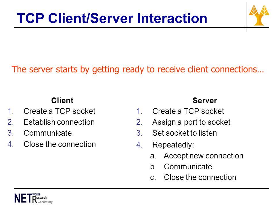 TCP Client/Server Interaction Client 1.Create a TCP socket 2.Establish connection 3.Communicate 4.Close the connection Server 1.Create a TCP socket 2.