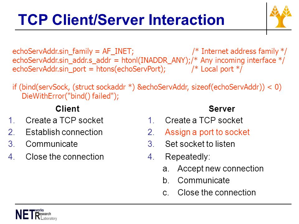 TCP Client/Server Interaction echoServAddr.sin_family = AF_INET; /* Internet address family */ echoServAddr.sin_addr.s_addr = htonl(INADDR_ANY);/* Any