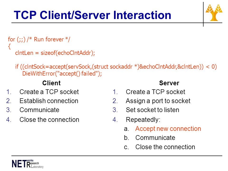 TCP Client/Server Interaction for (;;) /* Run forever */ { clntLen = sizeof(echoClntAddr); if ((clntSock=accept(servSock,(struct sockaddr *)&echoClntAddr,&clntLen)) < 0) DieWithError( accept() failed ); Client 1.Create a TCP socket 2.Establish connection 3.Communicate 4.Close the connection Server 1.Create a TCP socket 2.Assign a port to socket 3.Set socket to listen 4.Repeatedly: a.Accept new connection b.Communicate c.Close the connection
