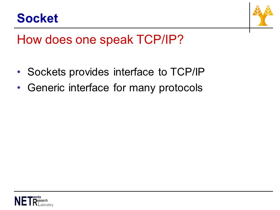 Socket How does one speak TCP/IP.