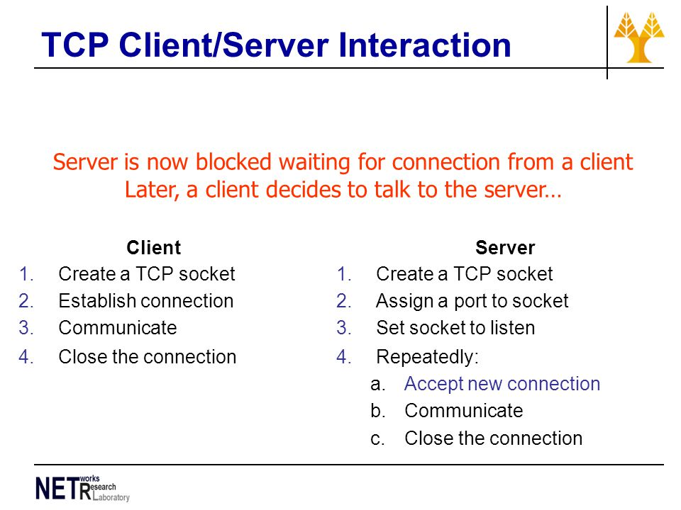 TCP Client/Server Interaction Server is now blocked waiting for connection from a client Later, a client decides to talk to the server… Client 1.Create a TCP socket 2.Establish connection 3.Communicate 4.Close the connection Server 1.Create a TCP socket 2.Assign a port to socket 3.Set socket to listen 4.Repeatedly: a.Accept new connection b.Communicate c.Close the connection