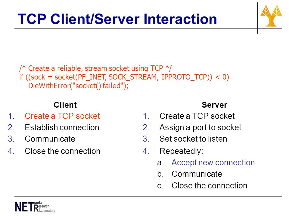 TCP Client/Server Interaction /* Create a reliable, stream socket using TCP */ if ((sock = socket(PF_INET, SOCK_STREAM, IPPROTO_TCP)) < 0) DieWithError( socket() failed ); Client 1.Create a TCP socket 2.Establish connection 3.Communicate 4.Close the connection Server 1.Create a TCP socket 2.Assign a port to socket 3.Set socket to listen 4.Repeatedly: a.Accept new connection b.Communicate c.Close the connection