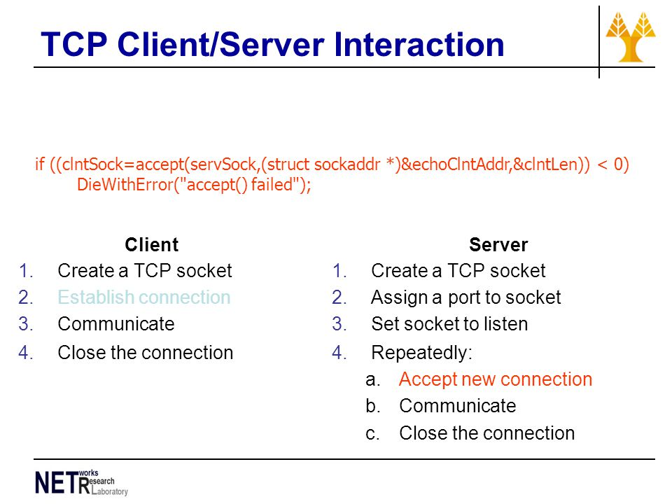 TCP Client/Server Interaction if ((clntSock=accept(servSock,(struct sockaddr *)&echoClntAddr,&clntLen)) < 0) DieWithError( accept() failed ); Client 1.Create a TCP socket 2.Establish connection 3.Communicate 4.Close the connection Server 1.Create a TCP socket 2.Assign a port to socket 3.Set socket to listen 4.Repeatedly: a.Accept new connection b.Communicate c.Close the connection