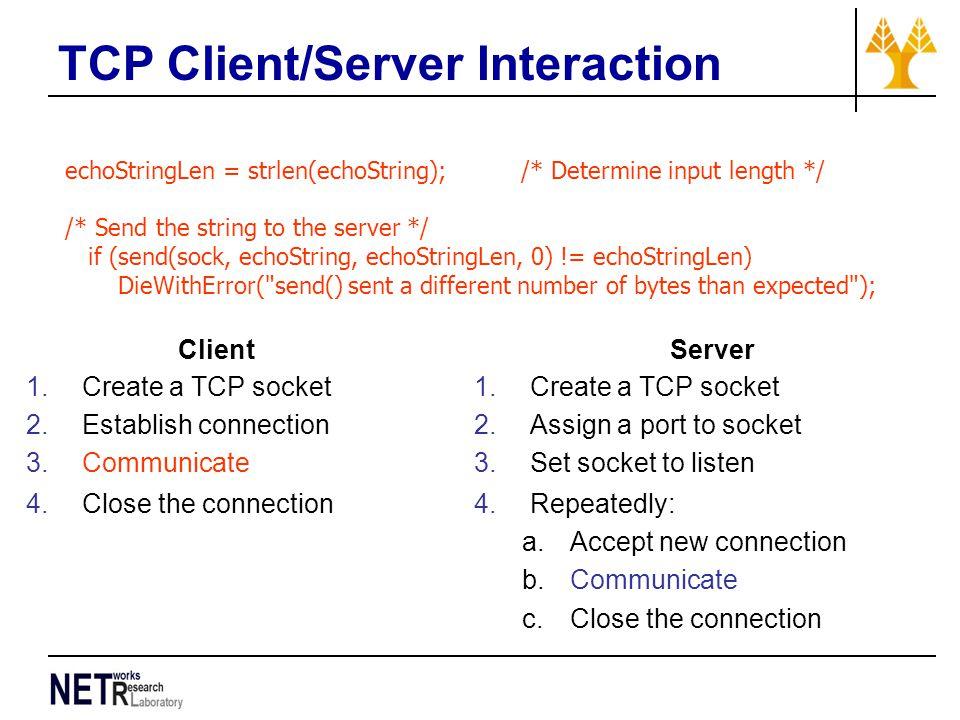 TCP Client/Server Interaction echoStringLen = strlen(echoString); /* Determine input length */ /* Send the string to the server */ if (send(sock, echo