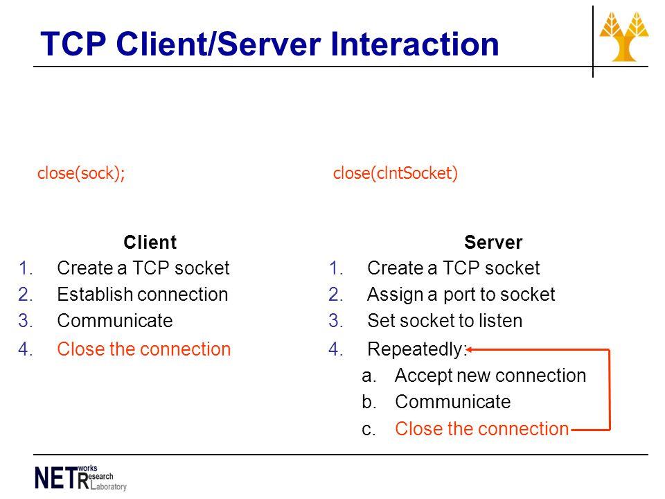 TCP Client/Server Interaction close(sock); close(clntSocket) Client 1.Create a TCP socket 2.Establish connection 3.Communicate 4.Close the connection