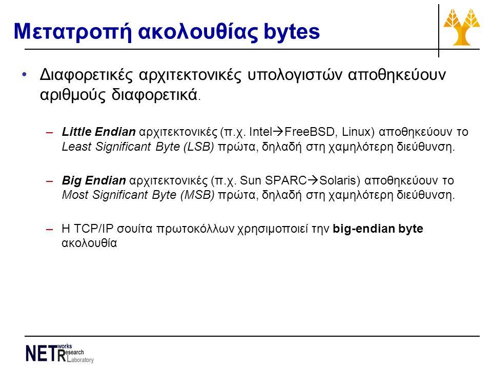 Μετατροπή ακολουθίας bytes Διαφορετικές αρχιτεκτονικές υπολογιστών αποθηκεύουν αριθμούς διαφορετικά. –Little Endian αρχιτεκτονικές (π.χ. Intel  FreeB