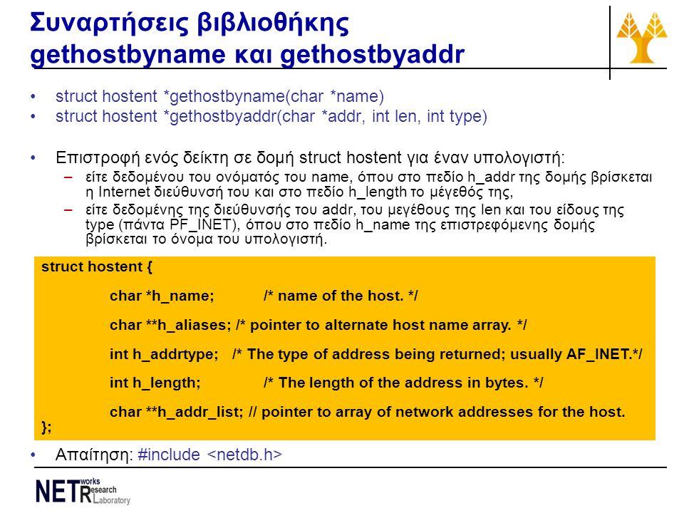 Συναρτήσεις βιβλιοθήκης gethostbyname και gethostbyaddr struct hostent *gethostbyname(char *name) struct hostent *gethostbyaddr(char *addr, int len, int type) Επιστροφή ενός δείκτη σε δομή struct hostent για έναν υπολογιστή: –είτε δεδομένου του ονόματός του name, όπου στο πεδίο h_addr της δομής βρίσκεται η Internet διεύθυνσή του και στο πεδίο h_length το μέγεθός της, –είτε δεδομένης της διεύθυνσής του addr, του μεγέθους της len και του είδους της type (πάντα PF_INET), όπου στο πεδίο h_name της επιστρεφόμενης δομής βρίσκεται το όνομα του υπολογιστή.