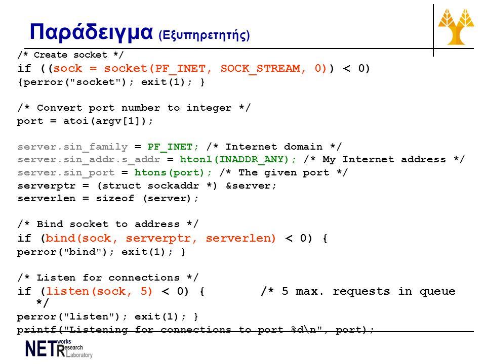 Παράδειγμα (Εξυπηρετητής) /* Create socket */ if ((sock = socket(PF_INET, SOCK_STREAM, 0)) < 0) {perror(