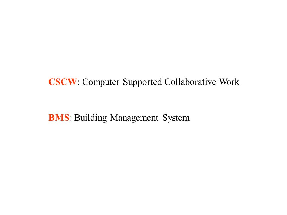 CSCW: Computer Supported Collaborative Work BMS: Building Management System