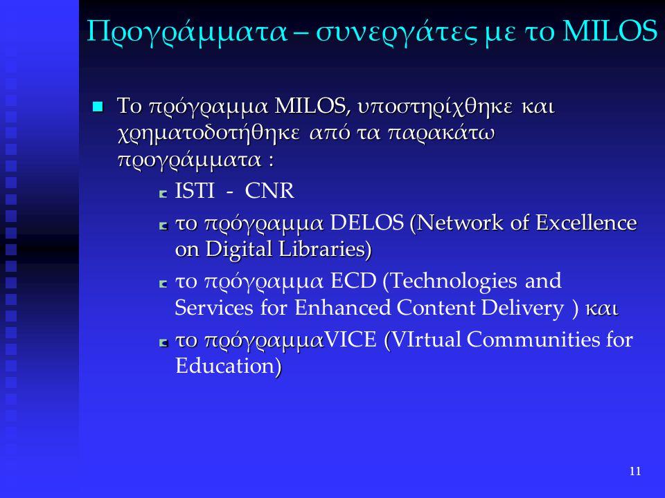 11 Προγράμματα – συνεργάτες με το MILOS Το πρόγραμμα MILOS, υποστηρίχθηκε και χρηματοδοτήθηκε από τα παρακάτω προγράμματα : Το πρόγραμμα MILOS, υποστηρίχθηκε και χρηματοδοτήθηκε από τα παρακάτω προγράμματα : ISTI - CNR το πρόγραμμα (Network of Excellence on Digital Libraries) το πρόγραμμα DELOS (Network of Excellence on Digital Libraries) και το πρόγραμμα ECD (Technologies and Services for Enhanced Content Delivery ) και το πρόγραμμα ( ) το πρόγραμμαVICE (VIrtual Communities for Education)