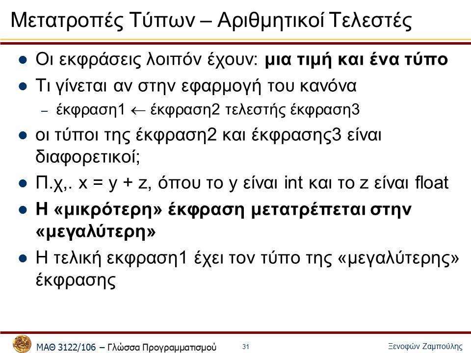 ΜΑΘ 3122/106 – Γλώσσα Προγραμματισμού Ξενοφών Ζαμπούλης 31 Μετατροπές Τύπων – Αριθμητικοί Τελεστές Οι εκφράσεις λοιπόν έχουν: μια τιμή και ένα τύπο Τι γίνεται αν στην εφαρμογή του κανόνα – έκφραση1  έκφραση2 τελεστής έκφραση3 οι τύποι της έκφραση2 και έκφρασης3 είναι διαφορετικοί; Π.χ,.
