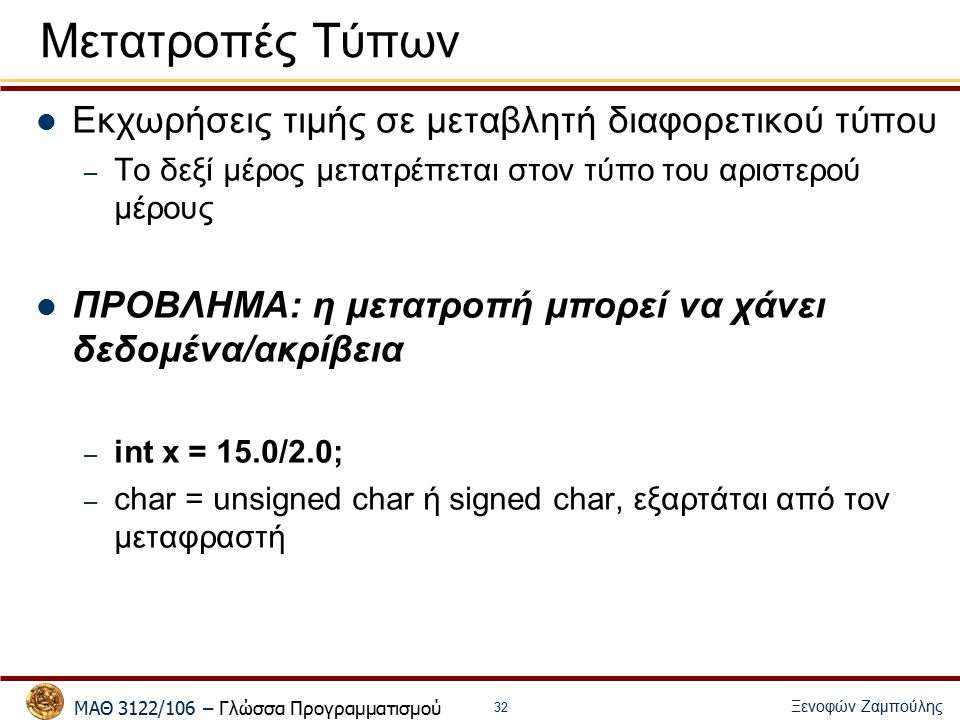 ΜΑΘ 3122/106 – Γλώσσα Προγραμματισμού Ξενοφών Ζαμπούλης 32 Εκχωρήσεις τιμής σε μεταβλητή διαφορετικού τύπου – Το δεξί μέρος μετατρέπεται στον τύπο του αριστερού μέρους ΠΡΟΒΛΗΜΑ: η μετατροπή μπορεί να χάνει δεδομένα/ακρίβεια – int x = 15.0/2.0; – char = unsigned char ή signed char, εξαρτάται από τον μεταφραστή Μετατροπές Τύπων