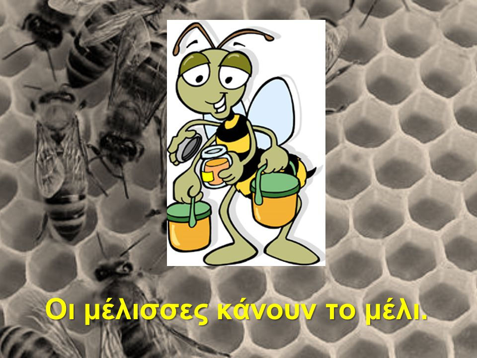 Οι μέλισσες κάνουν το μέλι.