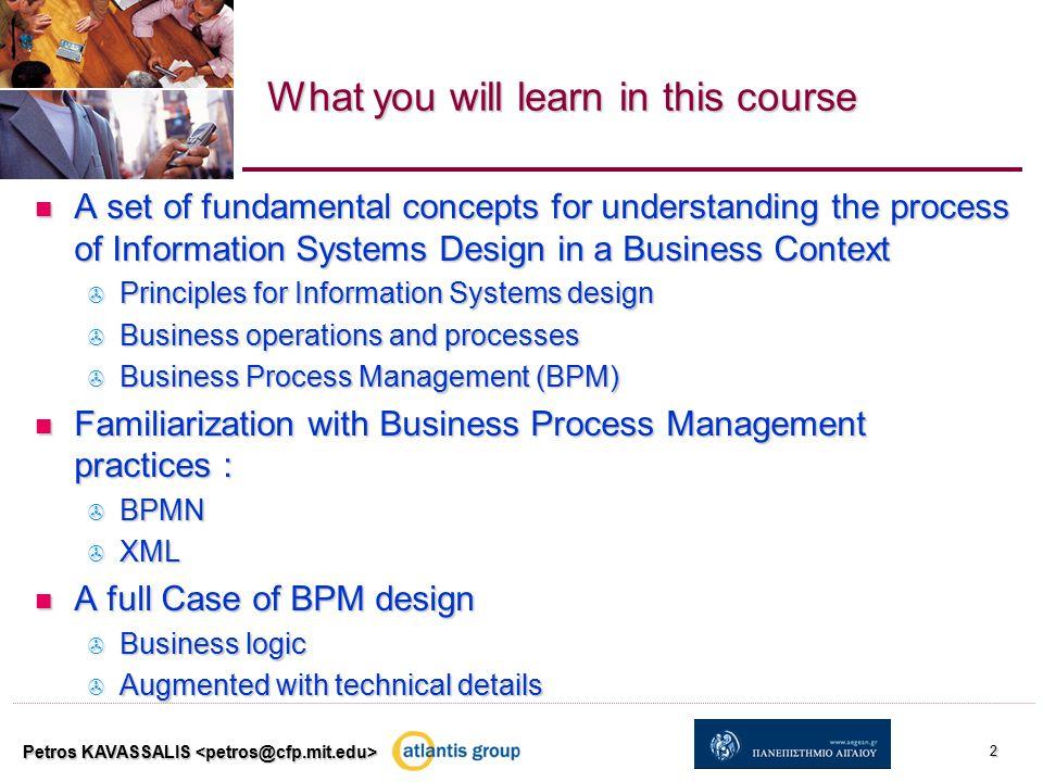 Interacting business processes (case 2) Petros KAVASSALIS 13