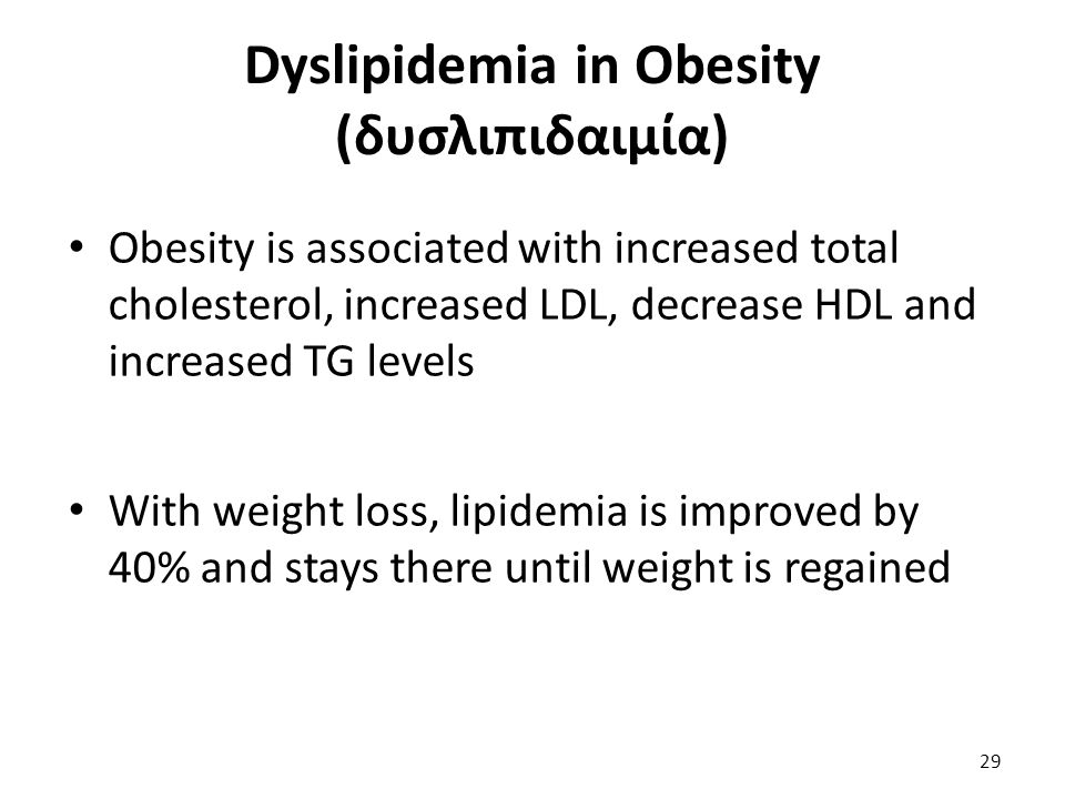 Dyslipidemia in Obesity (δυσλιπιδαιμία) Obesity is associated with increased total cholesterol, increased LDL, decrease HDL and increased TG levels Wi