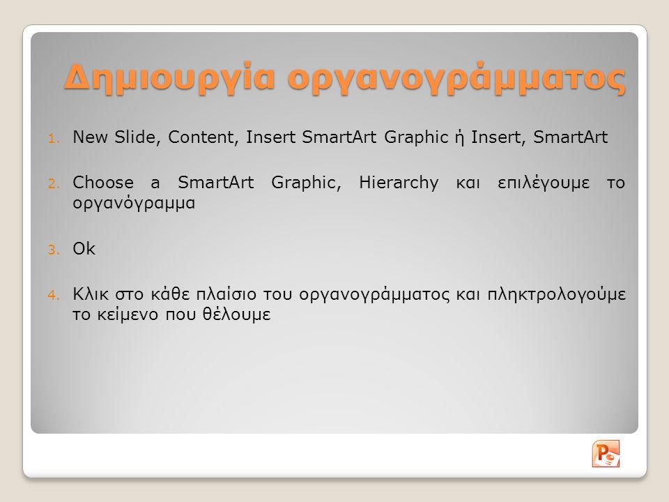 Δημιουργία οργανογράμματος 1. New Slide, Content, Insert SmartArt Graphic ή Insert, SmartArt 2.