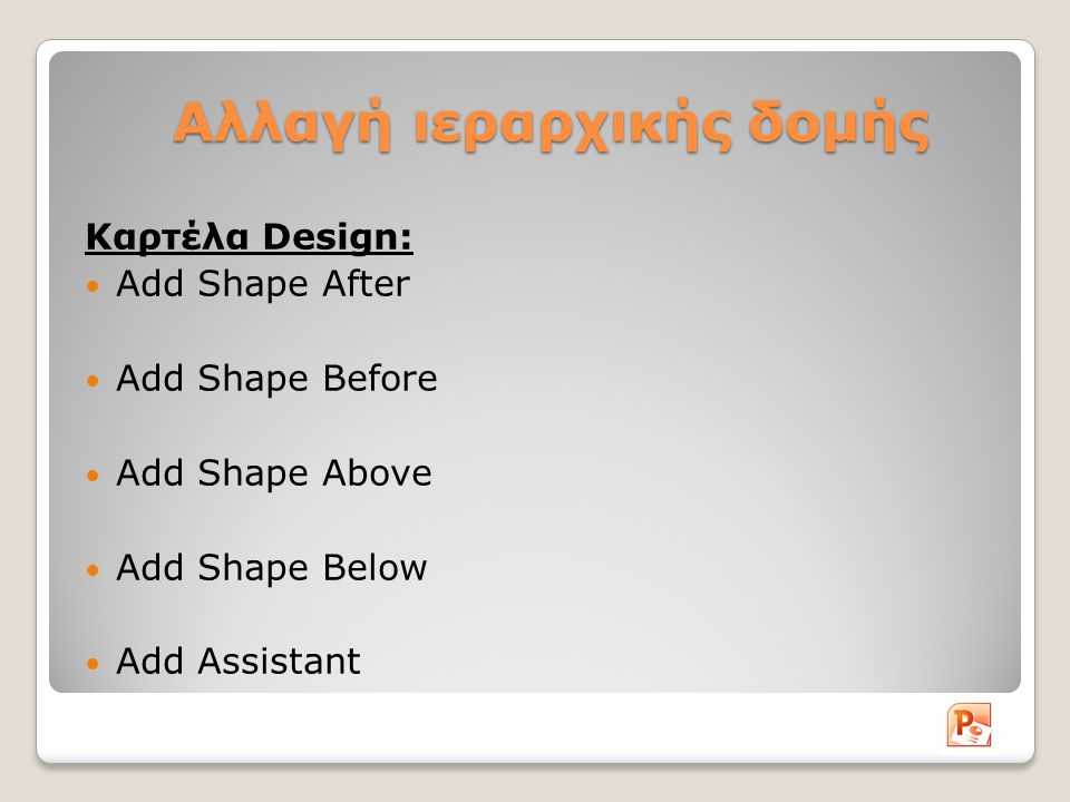 Αλλαγή ιεραρχικής δομής Καρτέλα Design: Add Shape After Add Shape Before Add Shape Above Add Shape Below Add Assistant