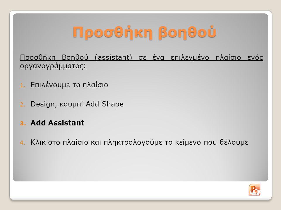 Προσθήκη βοηθού Προσθήκη Βοηθού (assistant) σε ένα επιλεγμένο πλαίσιο ενός οργανογράμματος: 1.