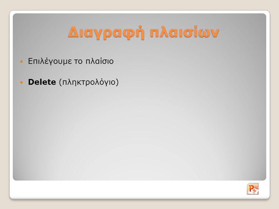 Διαγραφή πλαισίων Επιλέγουμε το πλαίσιο Delete (πληκτρολόγιο)