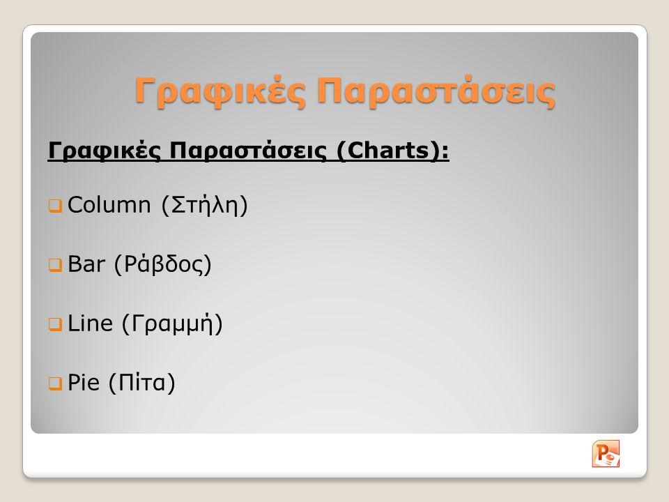 Γραφικές Παραστάσεις Γραφικές Παραστάσεις (Charts):  Column (Στήλη)  Bar (Ράβδος)  Line (Γραμμή)  Pie (Πίτα)