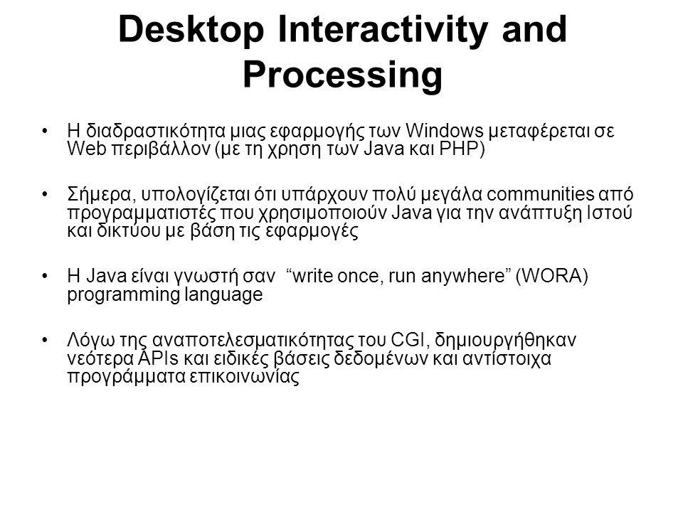 Desktop Interactivity and Processing Η διαδραστικότητα μιας εφαρμογής των Windows μεταφέρεται σε Web περιβάλλον (με τη χρηση των Java και PHP) Σήμερα, υπολογίζεται ότι υπάρχουν πολύ μεγάλα communities από προγραμματιστές που χρησιμοποιούν Java για την ανάπτυξη Ιστού και δικτύου με βάση τις εφαρμογές Η Java είναι γνωστή σαν write once, run anywhere (WORA) programming language Λόγω της αναποτελεσματικότητας του CGI, δημιουργήθηκαν νεότερα ΑΡΙs και ειδικές βάσεις δεδομένων και αντίστοιχα προγράμματα επικοινωνίας
