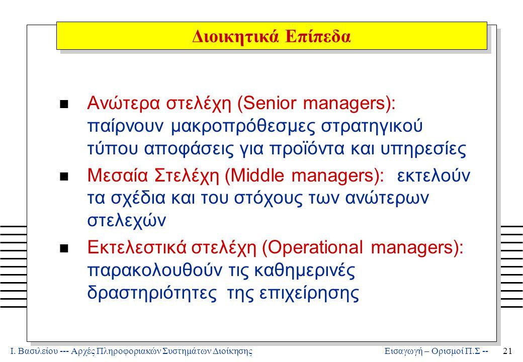 Ι. Βασιλείου --- Αρχές Πληροφοριακών Συστημάτων Διοίκησης21 Εισαγωγή – Ορισμοί Π.Σ -- n Ανώτερα στελέχη (Senior managers): παίρνουν μακροπρόθεσμες στρ