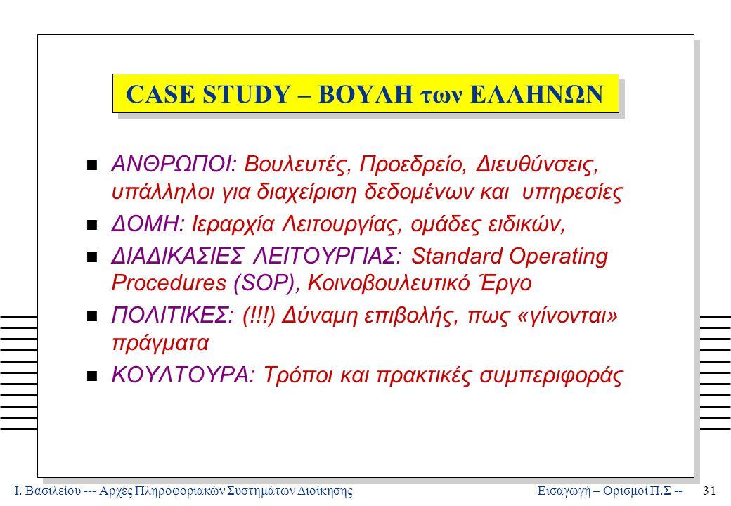 Ι. Βασιλείου --- Αρχές Πληροφοριακών Συστημάτων Διοίκησης31 Εισαγωγή – Ορισμοί Π.Σ -- CASE STUDY – ΒΟΥΛΗ των ΕΛΛΗΝΩΝ n ΑΝΘΡΩΠΟΙ: Βουλευτές, Προεδρείο,