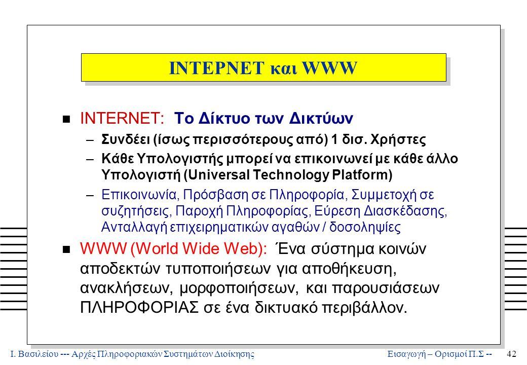 Ι. Βασιλείου --- Αρχές Πληροφοριακών Συστημάτων Διοίκησης42 Εισαγωγή – Ορισμοί Π.Σ -- ΙΝΤΕΡΝΕΤ και WWW n INTERNET: Το Δίκτυο των Δικτύων –Συνδέει (ίσω