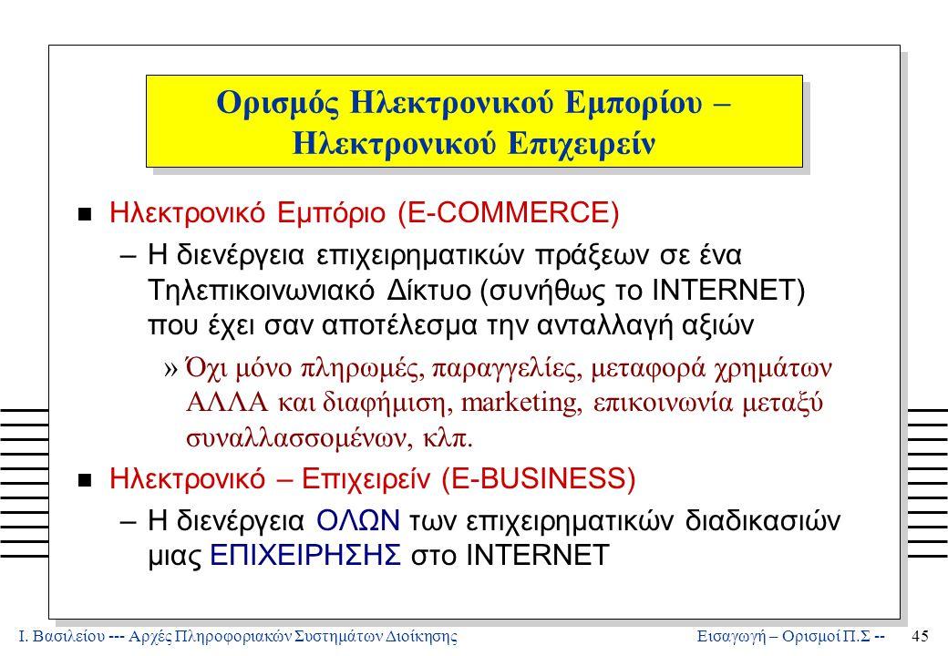 Ι. Βασιλείου --- Αρχές Πληροφοριακών Συστημάτων Διοίκησης45 Εισαγωγή – Ορισμοί Π.Σ -- Ορισμός Ηλεκτρονικού Εμπορίου – Ηλεκτρονικού Επιχειρείν n Ηλεκτρ