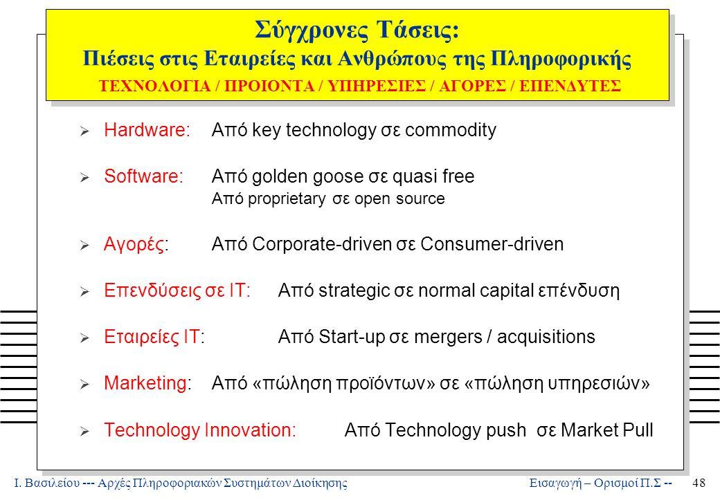 Ι. Βασιλείου --- Αρχές Πληροφοριακών Συστημάτων Διοίκησης48 Εισαγωγή – Ορισμοί Π.Σ -- Σύγχρονες Τάσεις: Πιέσεις στις Εταιρείες και Ανθρώπους της Πληρο