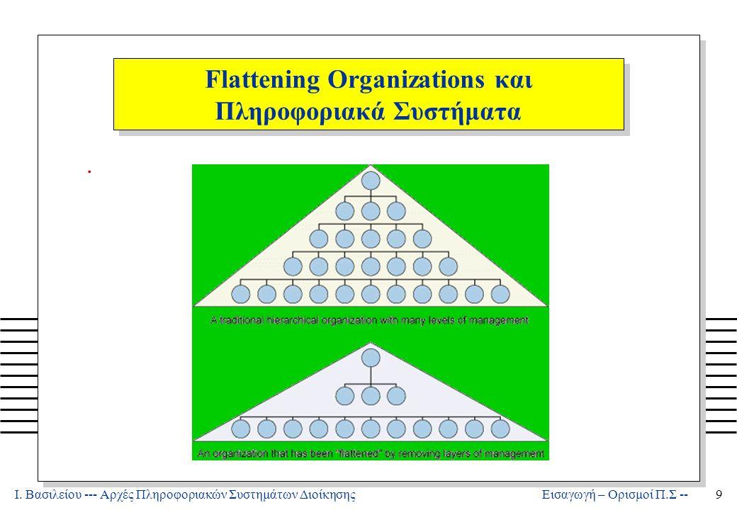 Ι. Βασιλείου --- Αρχές Πληροφοριακών Συστημάτων Διοίκησης9 Εισαγωγή – Ορισμοί Π.Σ -- Flattening Organizations και Πληροφοριακά Συστήματα.