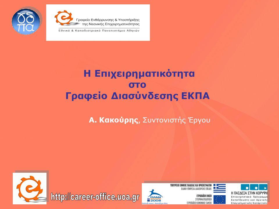 Η Επιχειρηματικότητα στο Γραφείο Διασύνδεσης ΕΚΠΑ Α. Κακούρης, Συντονιστής Έργου