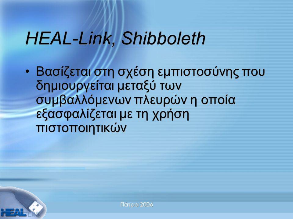 Πάτρα 2006 HEAL-Link, Shibboleth Βασίζεται στη σχέση εμπιστοσύνης που δημιουργείται μεταξύ των συμβαλλόμενων πλευρών η οποία εξασφαλίζεται με τη χρήση πιστοποιητικών