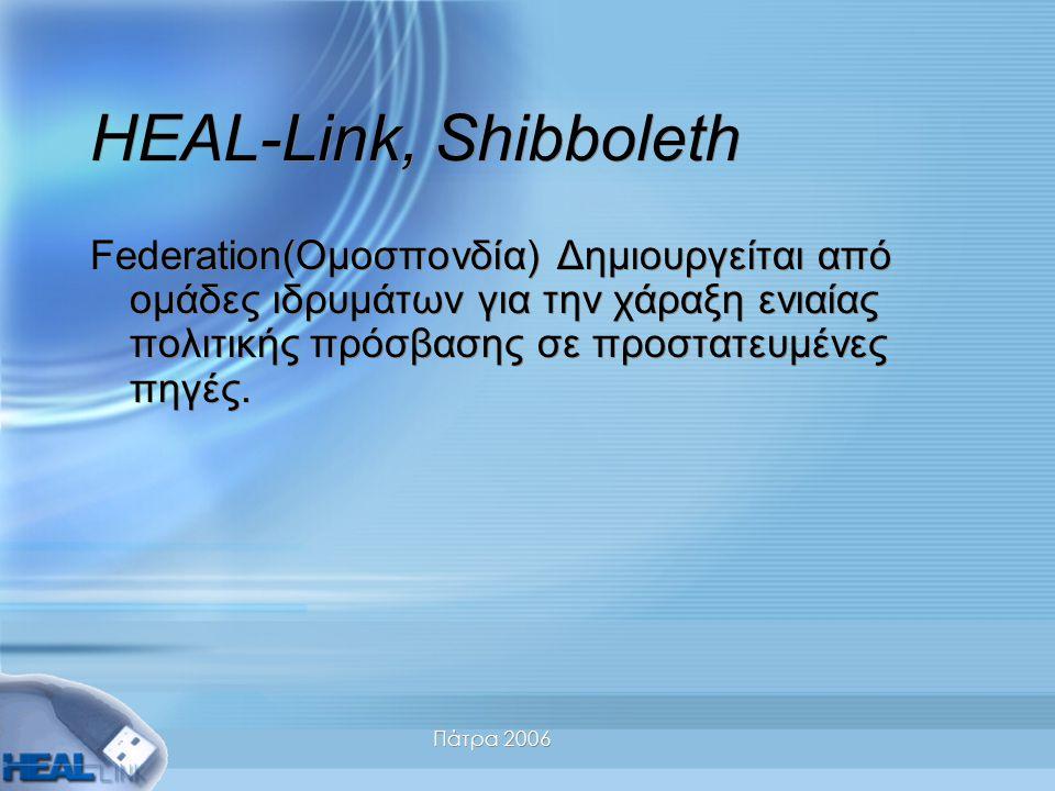 Πάτρα 2006 HEAL-Link, Shibboleth Federation(Ομοσπονδία) Δημιουργείται από ομάδες ιδρυμάτων για την χάραξη ενιαίας πολιτικής πρόσβασης σε προστατευμένες πηγές.