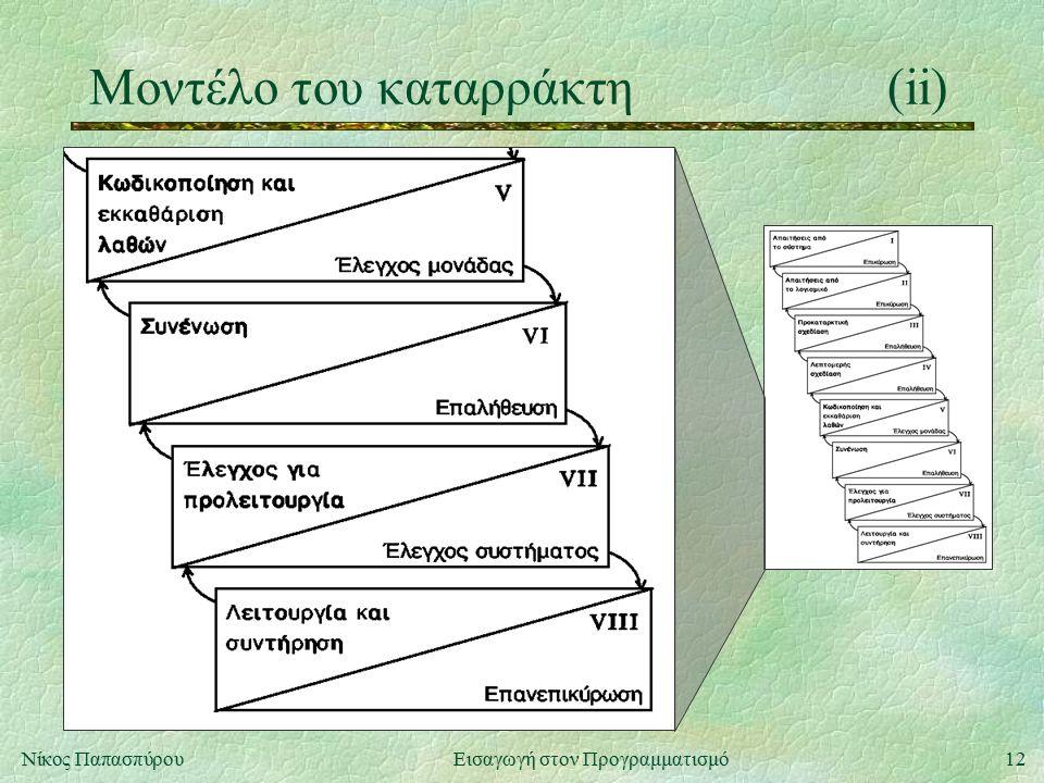 12Νίκος Παπασπύρου Εισαγωγή στον Προγραμματισμό Μοντέλο του καταρράκτη(ii)