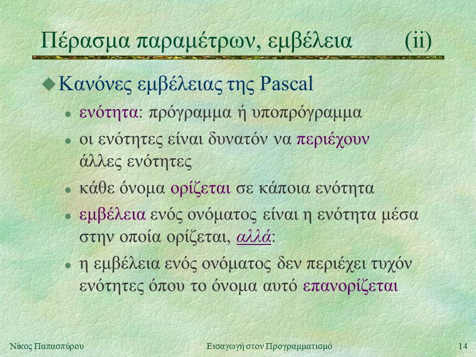 14Νίκος Παπασπύρου Εισαγωγή στον Προγραμματισμό Πέρασμα παραμέτρων, εμβέλεια(ii) u Κανόνες εμβέλειας της Pascal l ενότητα: πρόγραμμα ή υποπρόγραμμα l οι ενότητες είναι δυνατόν να περιέχουν άλλες ενότητες l κάθε όνομα ορίζεται σε κάποια ενότητα l εμβέλεια ενός ονόματος είναι η ενότητα μέσα στην οποία ορίζεται, αλλά: l η εμβέλεια ενός ονόματος δεν περιέχει τυχόν ενότητες όπου το όνομα αυτό επανορίζεται