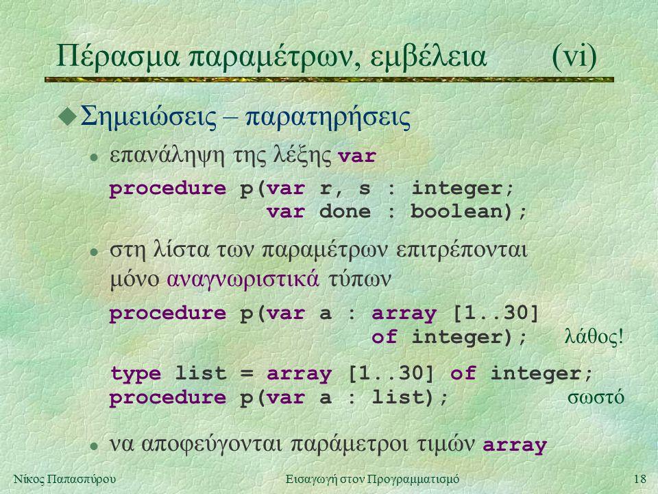 18Νίκος Παπασπύρου Εισαγωγή στον Προγραμματισμό Πέρασμα παραμέτρων, εμβέλεια(vi) u Σημειώσεις – παρατηρήσεις επανάληψη της λέξης var procedure p(var r, s : integer; var done : boolean); στη λίστα των παραμέτρων επιτρέπονται μόνο αναγνωριστικά τύπων procedure p(var a : array [1..30] of integer); λάθος.