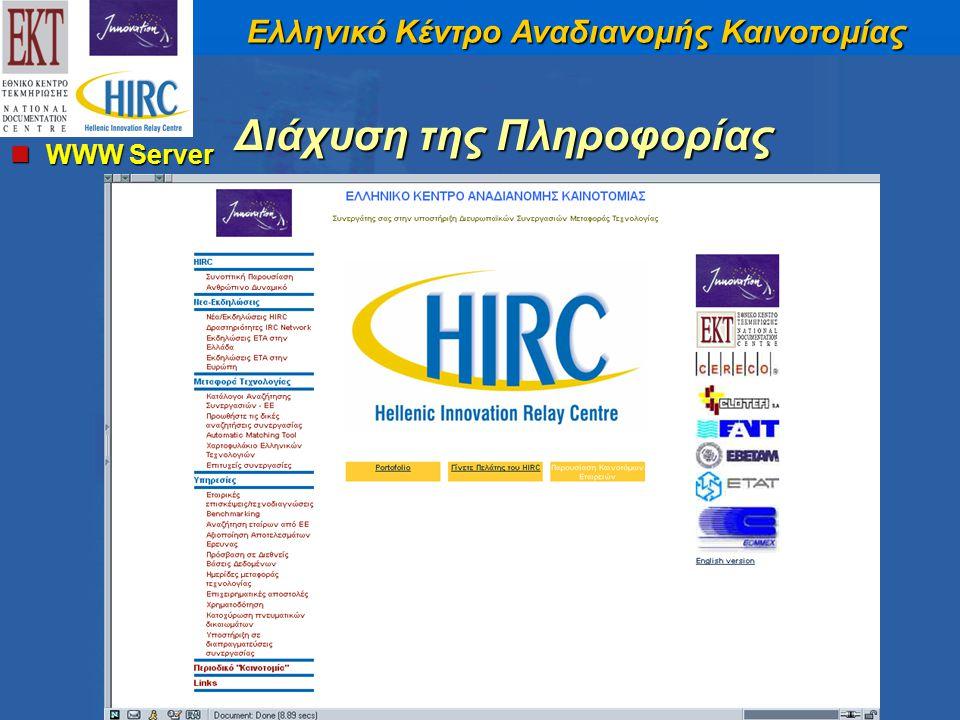 Ελληνικό Κέντρο Αναδιανομής Καινοτομίας WWW Server WWW Server Διάχυση της Πληροφορίας