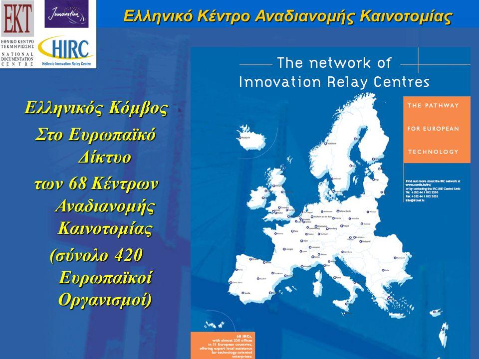 Ελληνικός Κόμβος Στο Ευρωπαϊκό Δίκτυο των 68 Κέντρων Αναδιανομής Καινοτομίας (σύνολο 420 Ευρωπαϊκοί Οργανισμοί)
